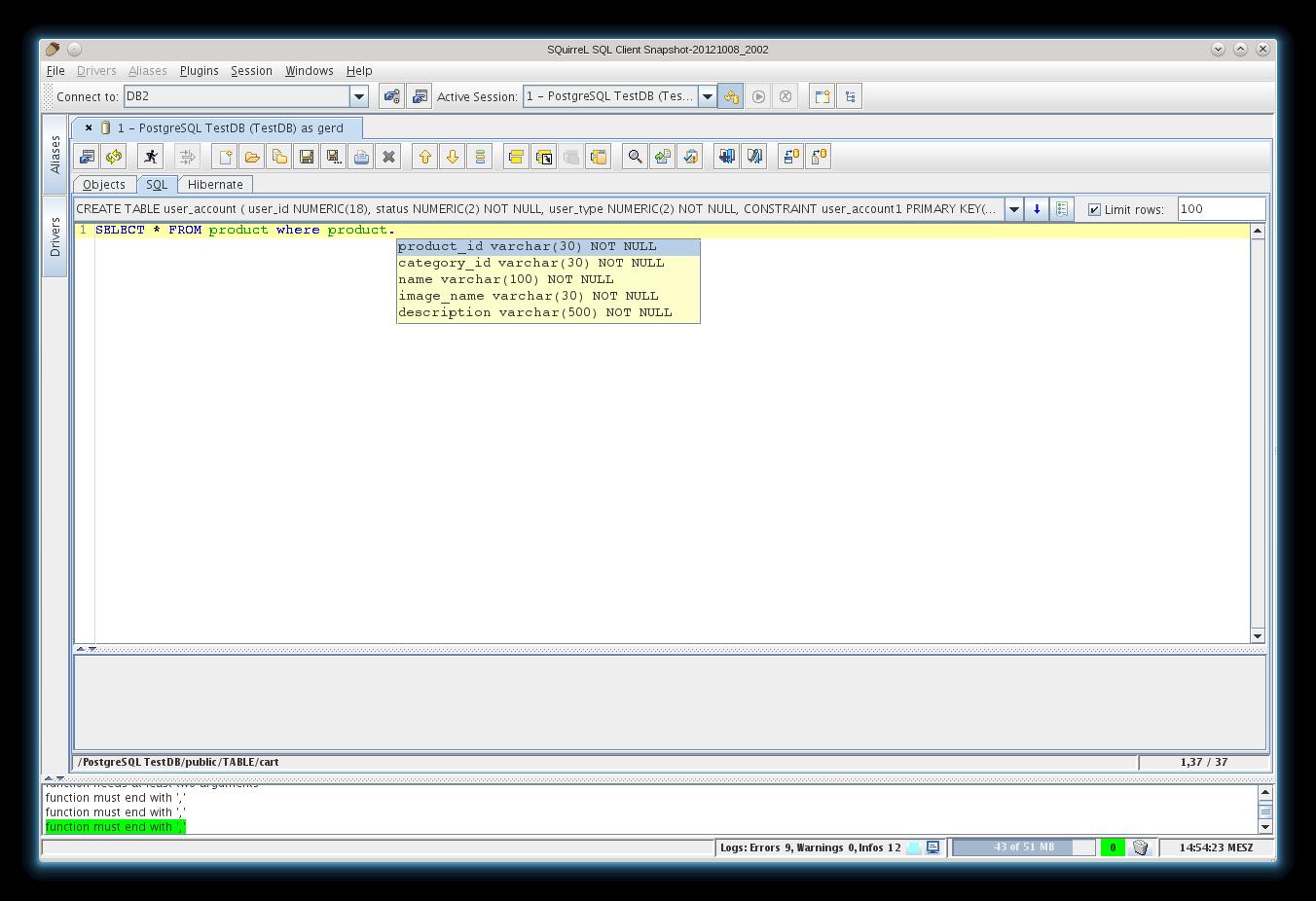 SQuirrel SQL Client for Mac OS X screenshot